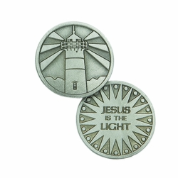 1-1/4 x 1-1/4 Inch Round Pewter Jesus is the Light Inspirational Pocket Token