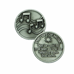 1-1/4 x 1-1/4 Inch Round Pewter Music Inspirational Pocket Token