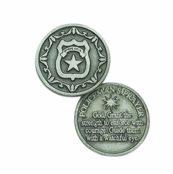 1-1/4 x 1-1/4 Inch Round Pewter Police Inspirational Pocket Token