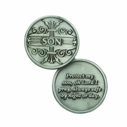 1-1/4 x 1-1/4 Inch Round Pewter Son Inspirational Pocket Token