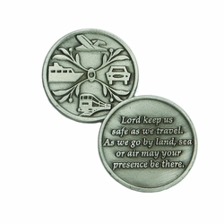 1-1/4 x 1-1/4 Inch Round Pewter Travel Inspirational Pocket Token