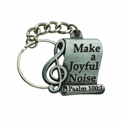 1-1/4  x 1-5/16 Inch Pewter Joyful Music Key Chain