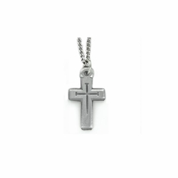 1-1/6 Inch Pewter Pierced Nail Cross Necklace