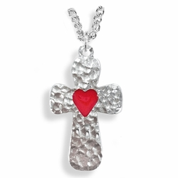 1-1/6 Inch Pewter Round and Hammer Looking Heart Cross Necklace