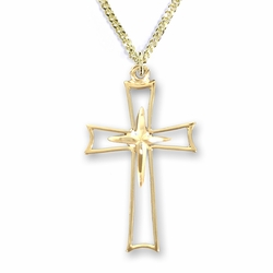 1-1/8 14K Gold Over Sterling Silver Flared and Inner Cross Necklace