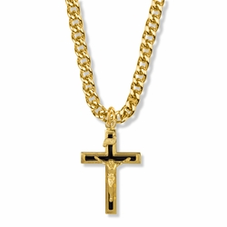 1-1/8 Inch 14K Gold Over Sterling Silver Black Enamel Crucifix Necklace