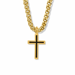 1-1/8 Inch 14K Gold Over Sterling Silver Black Enameled with Raised Border Cross Necklace