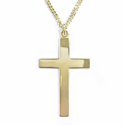 1-1/8 Inch 14K Gold Over Sterling Silver Block Cross Necklace