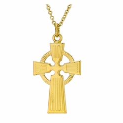 1-1/8 Inch 14K Gold Over Sterling Silver Celtic Cross Necklace