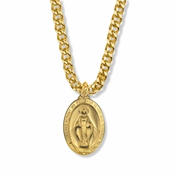 1-1/8 Inch 14K Gold Over Sterling Silver Oval Miraculous Medal