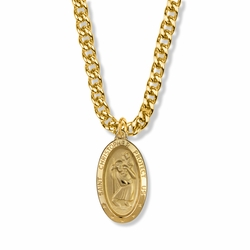 1-1/8 Inch 14K Gold Over Sterling Silver Oval St. Christopher Medal, Patron Saint of Travelers