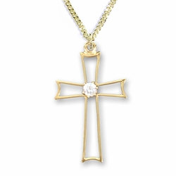 1-1/8 Inch 14K Gold Over Sterling Silver Pierced Cross Necklace with Centered Cubic Zirconia Stone
