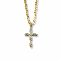 1-1/8 Inch 14K Gold Over Sterling Silver Pointed Oval Ends Cross Necklace with Opal Stones
