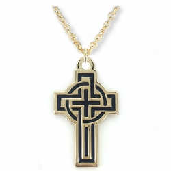 1-1/8 Inch 14K Gold Plated over Sterling Silver Enameled Celtic Cross Necklace