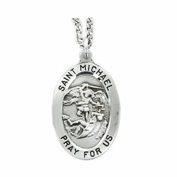 1-1/8 Inch Oval Sterling Silver St. Michael Medal, Patron of Police