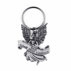 "1-1/8 Inch Pewter ""Dad Please Drive Carefully"" Angel Key Chain"