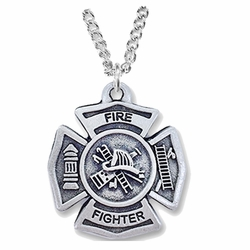 1-1/8 Inch Pewter Fire Department Maltese Shield Medal with Cross on Back