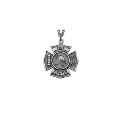 1-1/8 Inch Pewter Firefighter Shield Medal with Cross and Philippians 3:14 on the Back