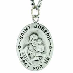 1-1/8 Inch Pewter Large Oval Saint Joseph Medal, Patron Saint of carpenters and Fathers