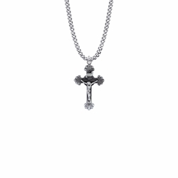1-1/8 Inch Pewter Scroll Ends Crucifix Necklace
