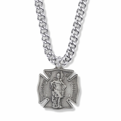 1-1/8 Inch Pewter St.Florian Shield Medal, Patron of Firefighters