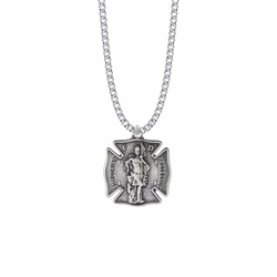 1-1/8 Inch Pewter St.Florian Shield Medal, Patron Saint of Firefighters
