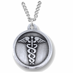 1-1/8 Inch Round Pewter Medical Caduceus Medal with Cross on Back