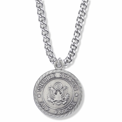 1-1/8 Inch Round Pewter U.S. Air Force Medal with Cross and Philippians 4:13 on the Back