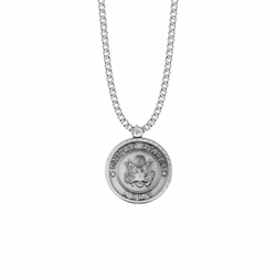 1-1/8 Inch Round Pewter U.S. Army Medal with St. Michael on Back