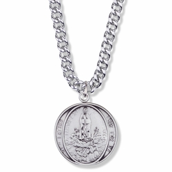 1-1/8 Inch Round Sterling Silver Our Lady of Fatima Medal