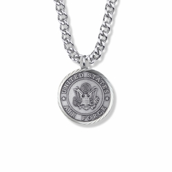 1-1/8 Inch Round Sterling Silver U.S. Air Force Medal with Cross and Philippians 4:13 on the Back