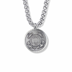 1-1/8 Inch Round Sterling Silver U.S. Coast Guard Medal with Cross and Philippians 4:13 on the Back