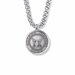 1-1/8 Inch Round Sterling Silver U.S. Navy Medal with Cross and Philippians 4:13 on the Back
