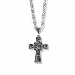 1-1/8 Inch Sterling Silver and Marcasite Stones Flared Cross Necklace