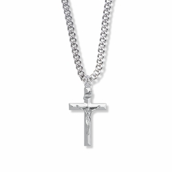 1-1/8 Inch Sterling Silver Beveled Crucifix Necklace