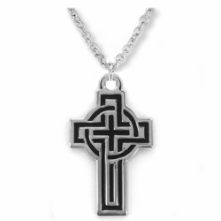 1-1/8 Inch Sterling Silver Black Enameled Celtic Cross Necklace