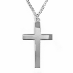 1-1/8 Inch Sterling Silver Block Cross Necklace