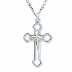 1-1/8 Inch Sterling Silver Budded Ends and Inner Cross Necklace