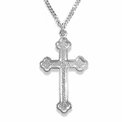 1-1/8 Inch Sterling Silver Budded Ends Cross Necklace