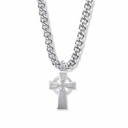 1-1/8 Inch Sterling Silver Celtic Cross Necklace