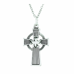 1-1/8 Inch Sterling Silver Celtic Cross with Dove Necklace