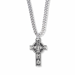 1-1/8 Inch Sterling Silver Celtic Figures Cross Necklace