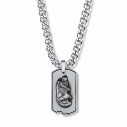 1-1/8 Inch Sterling Silver Dog Tag St. Christopher Medal, Patron Saint of Travelers