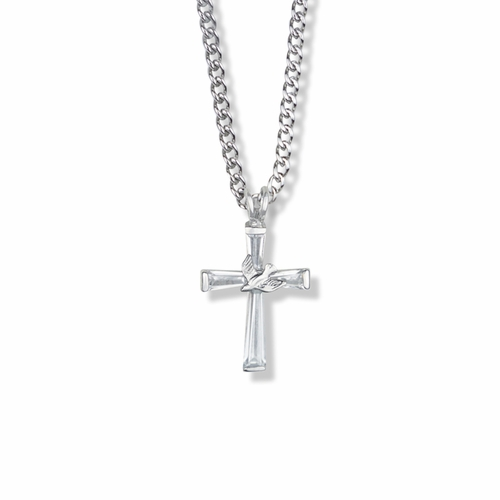 1-1/8 Inch Sterling Silver Dove on Crystal Baguette Cross Necklace