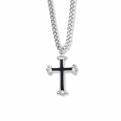 1-1/8 Inch Sterling Silver Enameled and Open Budded Ends Cross Necklace
