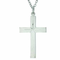 1-1/8 Inch Sterling Silver Engraved Starburst Cross Necklace