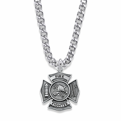 1-1/8 Inch Sterling Silver Fire Fighter Shield Medal with Cross and Philippians 4:13 on Back