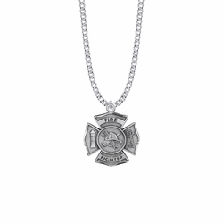 1-1/8 Inch Sterling Silver Firefighter Shield Medal with St. Florian on Back, Patron Saint of Firefighters
