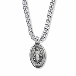 1-1/8 Inch Sterling Silver Oval Miraculous Medal