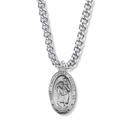 1-1/8 Inch Sterling Silver Oval St. Christopher Medal, Patron Saint of Travelers